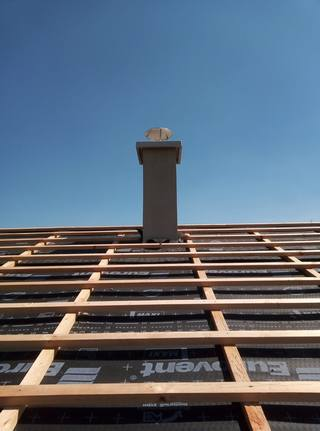 standing chimney with stainless steel roof